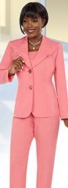 Ben Marc Executive 11648 Womens Pant Suit With Wide Ruffled Lapel Jacket