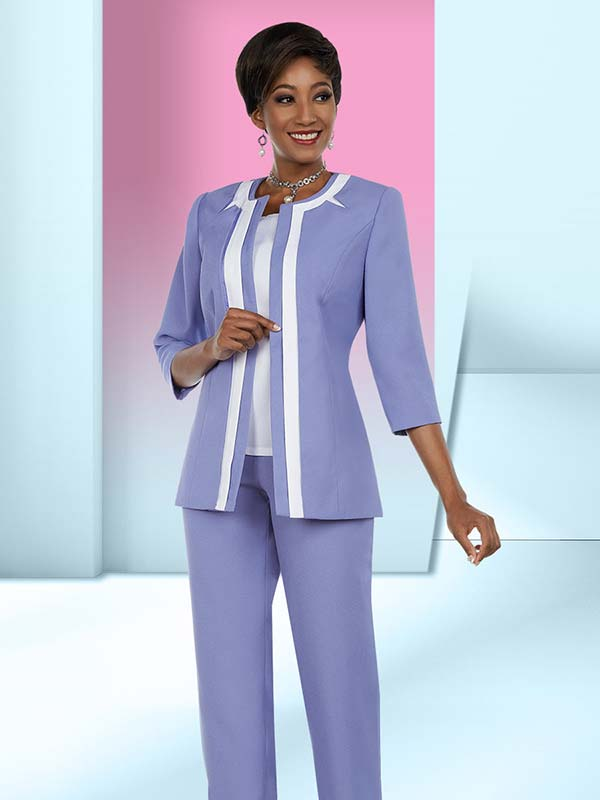 Ben Marc Executive 11649 Womens Business Pant Suit With Contrasting Inset On Jacket