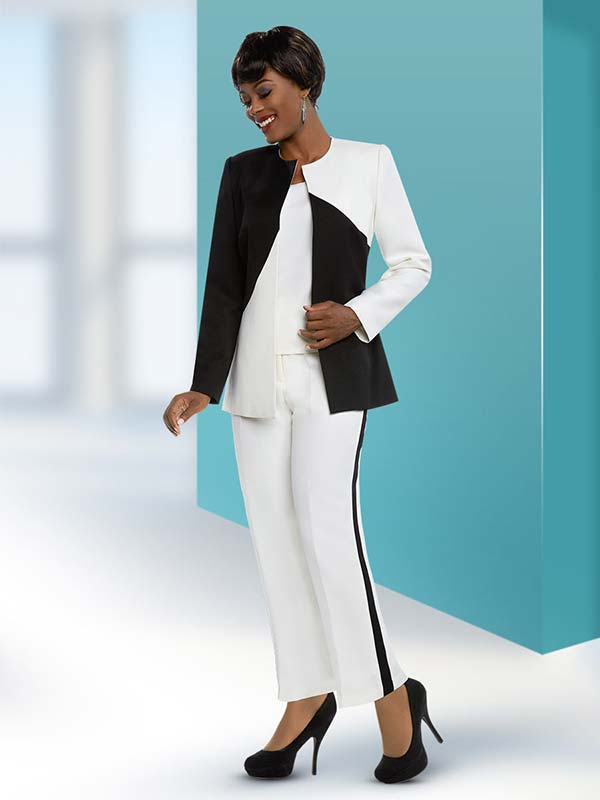 Ben Marc Executive 11650 Womens Business Pant Suit With Dual Tone Style Design