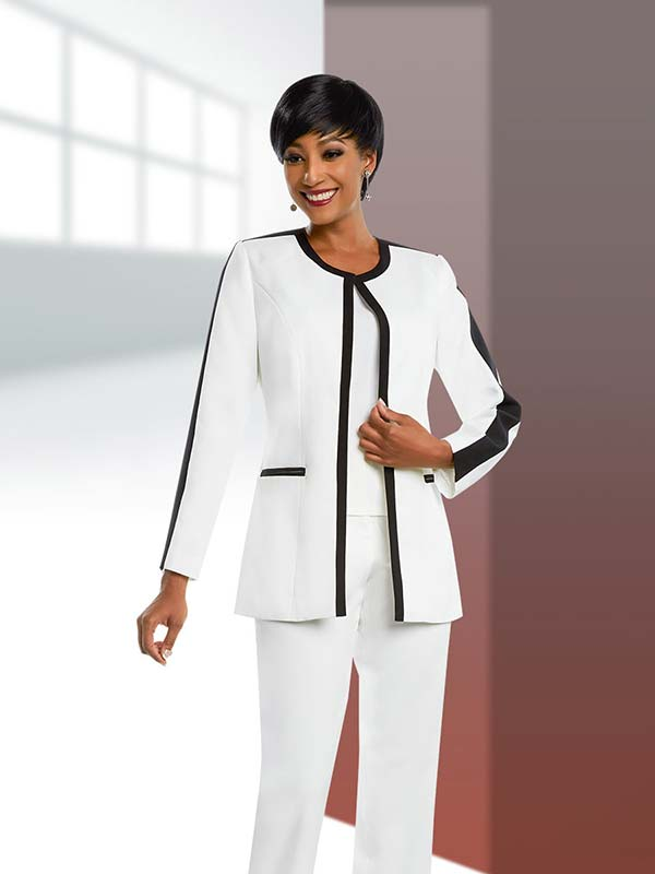 Ben Marc Executive 11655 Womens Pant Suit With Contrasting Trim Design