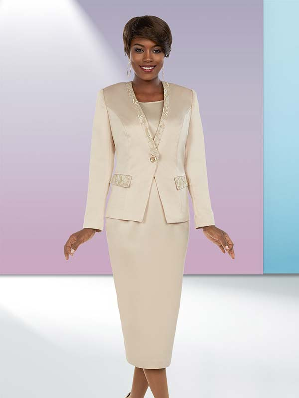 Ben Marc Executive 11659 Skirt Suit With Brocade Style Trims