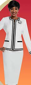 Ben Marc Executive 11665 Ladies Skirt Suit With Double Stripe Trimmed Jacket