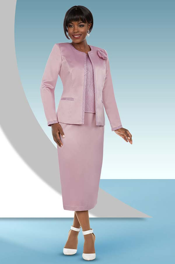 Ben Marc Executive 11667 Skirt Suit With Contrasting Trim & Fabric Flower On Jacket