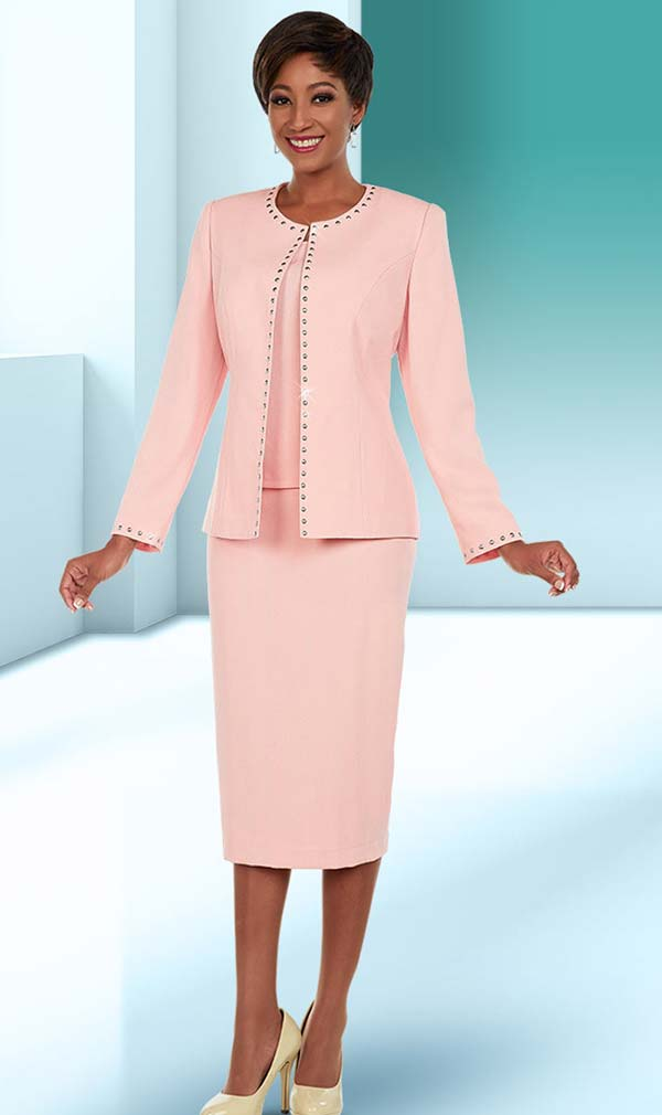 Ben Marc Executive 11669 Womens Business Skirt Suit With Studded Trim Design