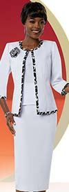 Ben Marc Executive 11670 Skirt Suit With Pattern Trim Jacket & Fabric Flower