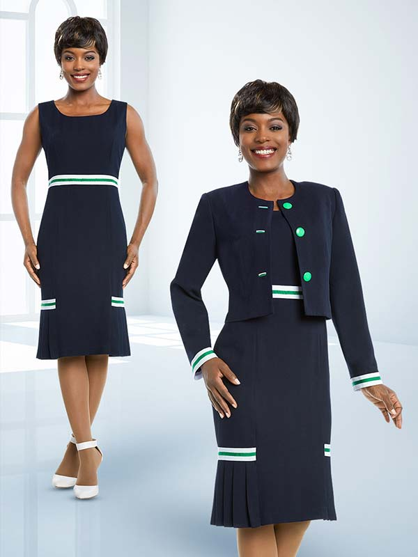 Ben Marc Executive 11686 Dress Suit With Striped Accents & Pleated Hem