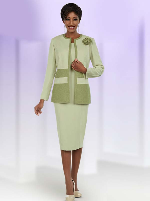 Ben Marc Executive 11695 Business Dress With Contrasting Trim & Fabric Flower On Jacket