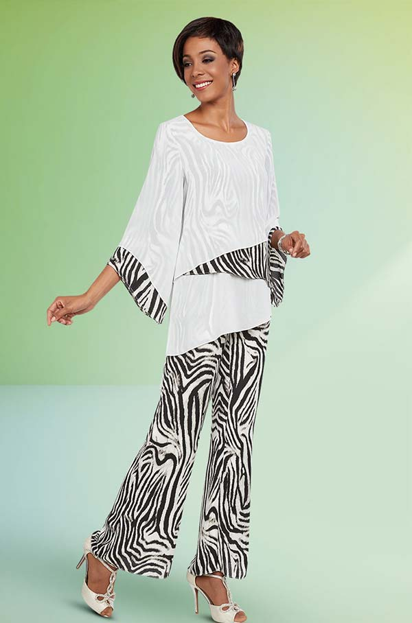 Ben Marc Casual Elegance 18281 Womens Pant Suit With Mesh & Print Layers