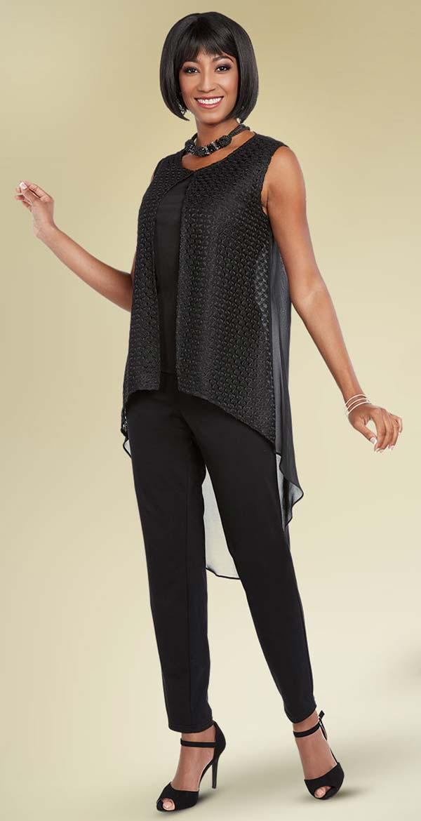 Ben Marc Casual Elegance 18284-Black - Pant Suit With High-Low Sleeveless Top
