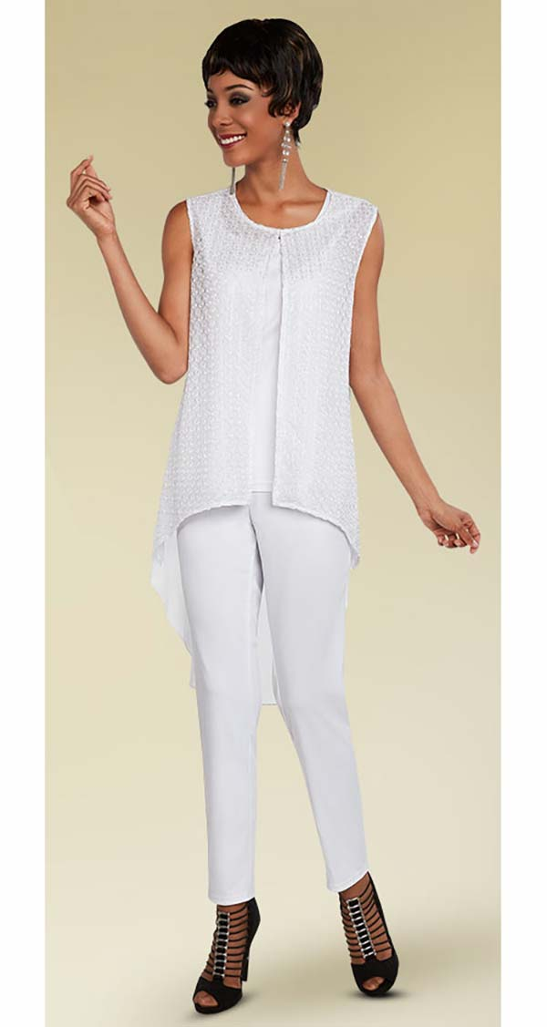 Ben Marc Casual Elegance 18284-White - Pant Suit With High-Low Sleeveless Top