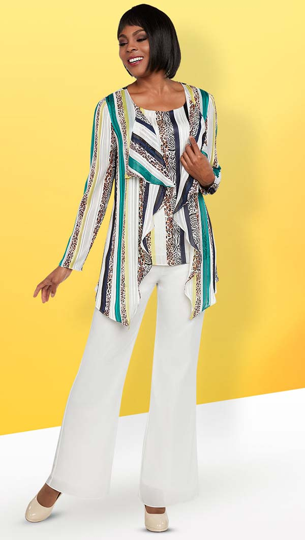 Ben Marc Casual Elegance 18290 Womens Pant Suit With Multi Color Two Piece Top Set