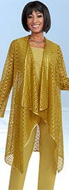 Clearance Ben Marc Casual Elegance 18293-Gold - Womens Pant Suit With Cut Out Style Jacket