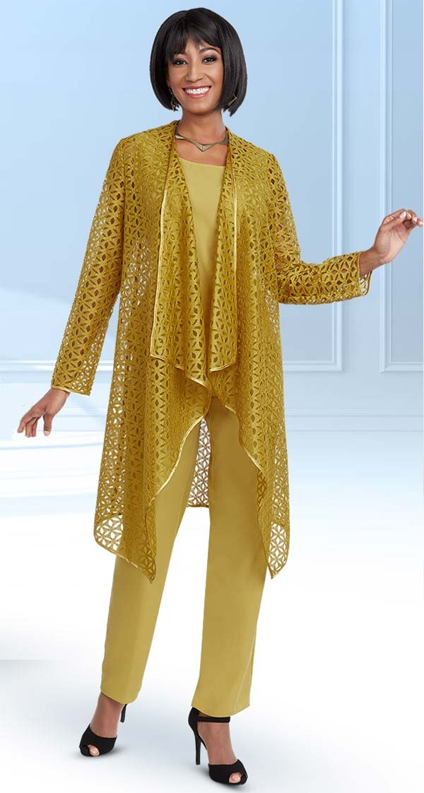 Ben Marc Casual Elegance 18293-Gold - Womens Pant Suit With Cut Out Style Jacket