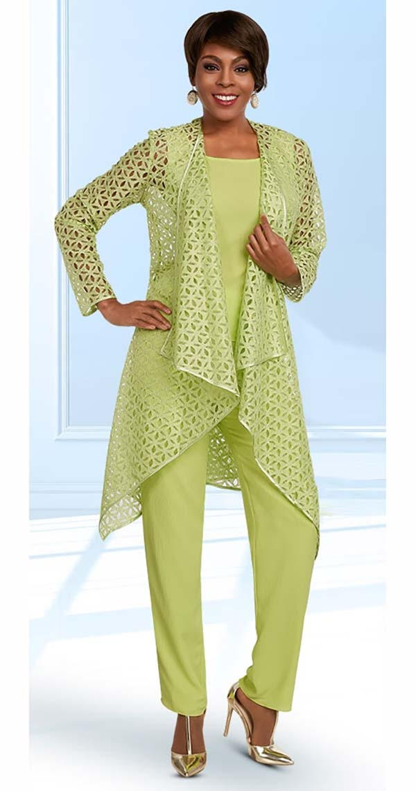 Ben Marc Casual Elegance 18293-Mint - Womens Pant Suit With Cut Out Style Jacket