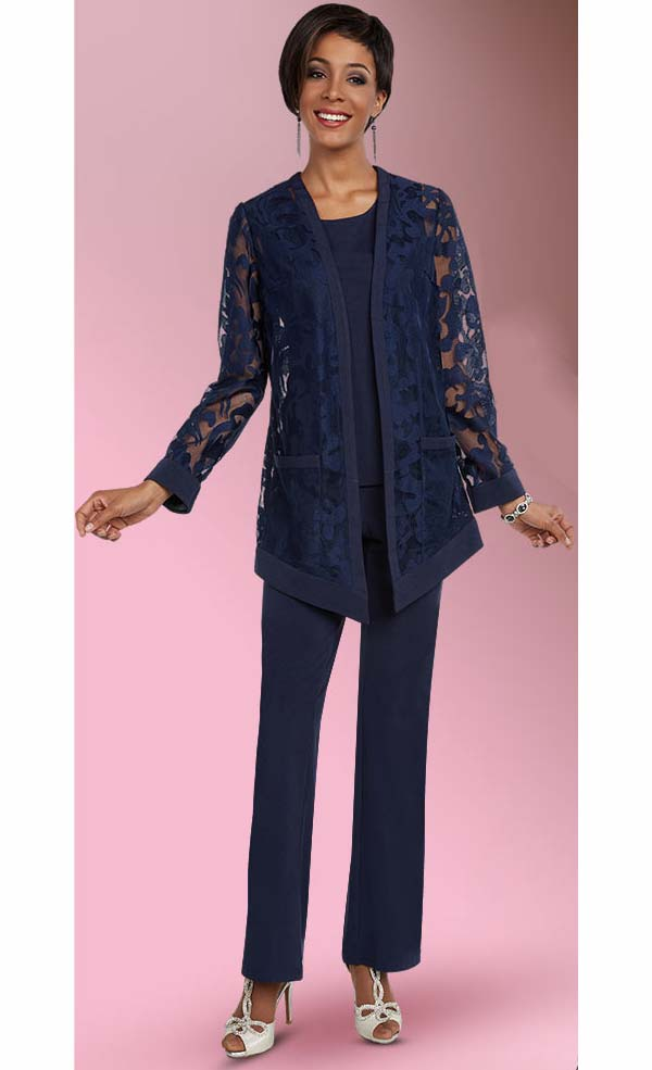 Ben Marc Casual Elegance 18294-Navy - Womens Pant Suit With Cut-Out Design Jacket