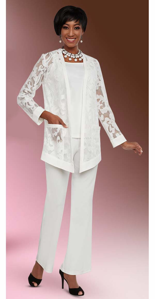 Ben Marc Casual Elegance 18294-OffWhite - Womens Pant Suit With Cut-Out Design Jacket