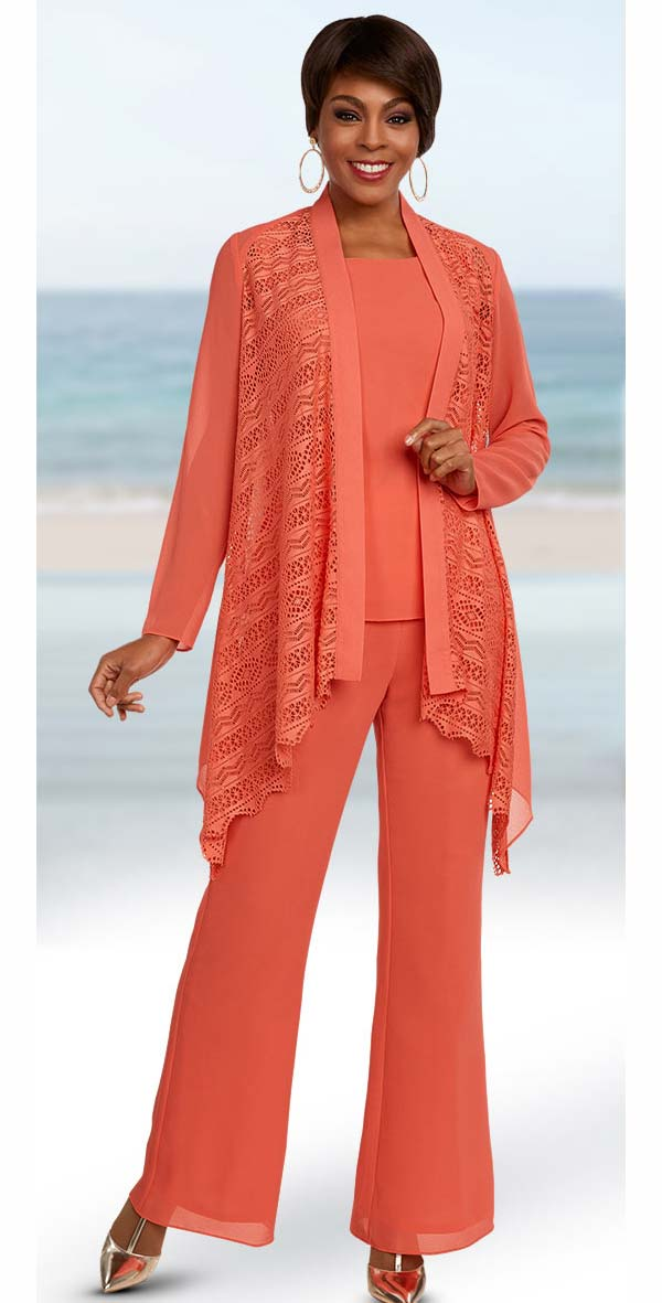 Ben Marc Casual Elegance 18297-Coral - Womens Pant Suit With Open Jacket