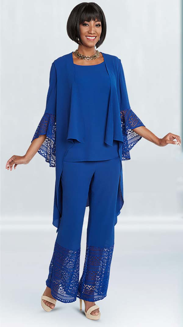 Ben Marc Casual Elegance 18299-Royal - Womens Pant Suit With Open Cardigan Style Jacket
