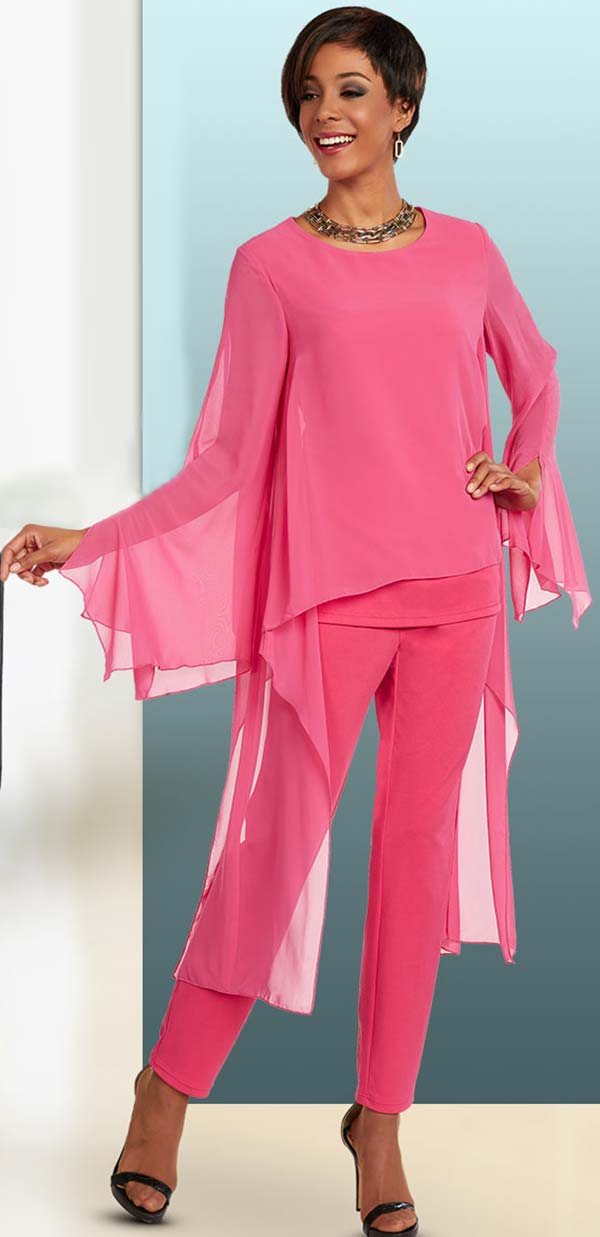 Ben Marc Casual Elegance 18300-Fuchsia - Womens Pant Suit With Long High Low Tunic Top