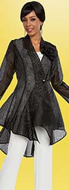 Ben Marc Casual Elegance 18302-Black - Womens Translucent High Low Style Jacket