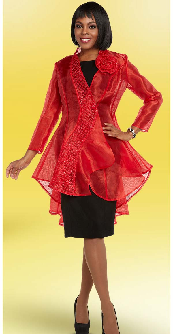 Ben Marc Casual Elegance 18302-Red - Womens Translucent High Low Style Jacket
