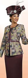 Clearance Ben Marc 47991 Womens Pattern Jacket With Solid Skirt Suit