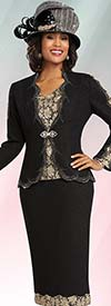 Ben Marc 48055 Knit Skirt Suit For Church With Scalloped Lace Edging