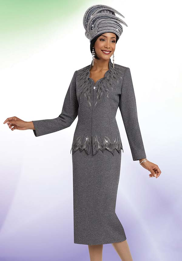 Ben Marc 48057 Knit Skirt Suit For Church With Star Neckline Design