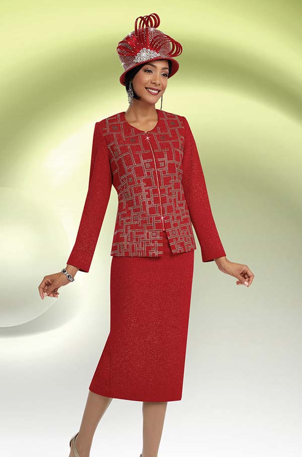 Ben Marc 48059 Knit Skirt Suit For Church With Geometric Pattern