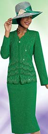 Ben Marc 48061 Knit Skirt Suit For Church With Scalloped Edge Jacket