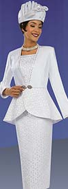 Ben Marc 48064 Skirt Suit For Church With Flared Jacket & Rhinestone Trim