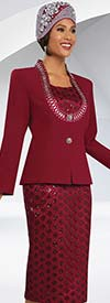 Ben Marc 48065 Womens Skirt Suit With Embellished Neckline & Sequins