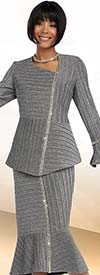 Clearance Ben Marc 48070 Womens Skirt Suit With Asymmetric Design & Flared Cuffs