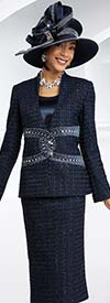 Ben Marc 48071 Womens Textured Skirt Suit With Embellished Jacket