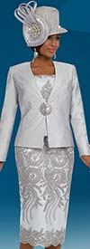 Ben Marc 48074 First Lady Skirt Suit For Church With Lace Adornments