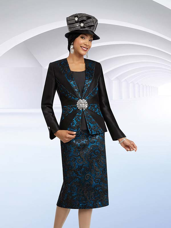 Ben Marc 48076 Three Piece Lace Design Skirt Suit For Church