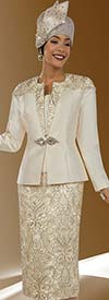 Clearance Ben Marc 48080 Intricate Pattern Designed Skirt Suit With Semi Solid Jacket