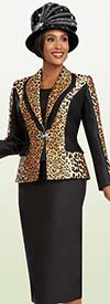 Ben Marc 48081 Three Piece Skirt Suit Wlth Leopard Print Jacket
