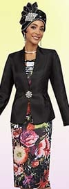 Ben Marc 48082 Beautiful Floral Print Design Skirt Suit With Solid Jacket