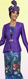 Ben Marc 48087 Three Piece Floral Print Skirt Suit Wlth Solid Jacket