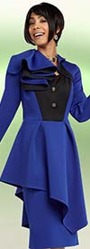 Ben Marc 48089 Womens Skirt Suit With Asymmetric Pleat & Ruffle Design