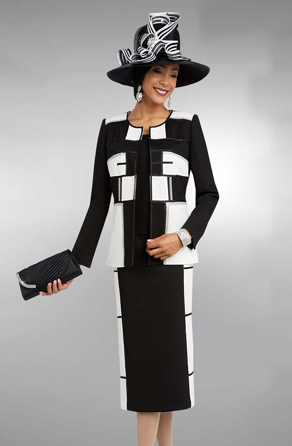 Ben Marc 48098 Three Piece Skirt Suit Ensemble In A Box Wlth Color Block Design