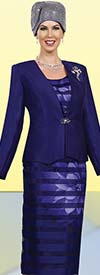 Ben Marc 48019-Navy Ladies Church Suit With Flower Print