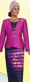 Ben Marc 48019-Fuchsia Ladies Church Suit With Flower Print