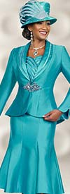 Ben Marc 48037 Shawl Lapel Pleated Skirt Suit For Women