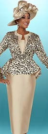Ben Marc 48102 Skirt Suit With Animal Print Peplum Jacket