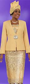 Ben Marc 48109-Gold - Ladies Skirt Suit With Lace Applique Pattern Design