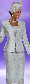 Ben Marc 48109-Platinum - Ladies Skirt Suit With Lace Applique Pattern Design