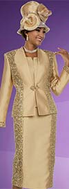 Ben Marc 48113 Womens Skirt Suit With Brocade & Solid Panel Design