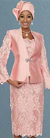 Ben Marc 48115 Silky Twill Skirt Suit With Solid & Applique Design